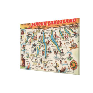 Fingerlakes, New York - Detailed Map Gallery Wrap Canvas