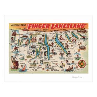Fingerlakes, New York - Detailed Map Post Card