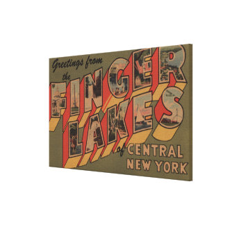 Fingerlakes, New York - Large Letter Scenes Stretched Canvas Prints