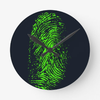 fingerprint-257038 BLACK NEON GREEN FINGERPRINT GR Wall Clocks