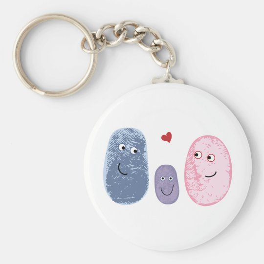 Fingerprint family basic round button key ring