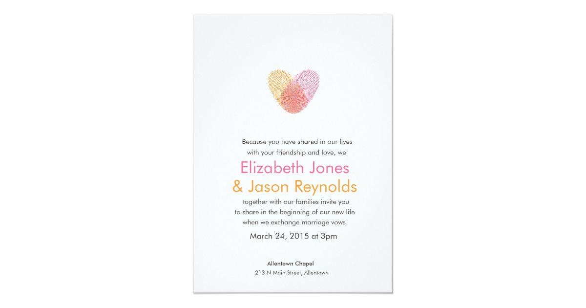 Heart Wedding Invitations Uk: Fingerprint Heart Wedding Invitation