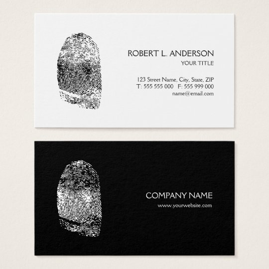 Fingerprint Private Investigator Black White Business Card