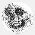 Fingerprint skull round stickers