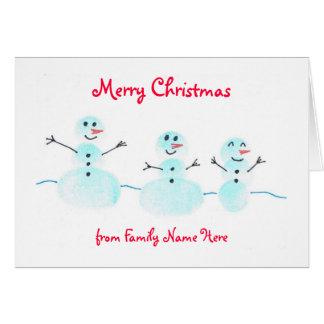 Fingerprint Snowman Christmas Card - Personalize