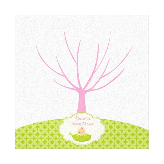 Fingerprint Tree Baby Shower Guestbook Pea Pod Canvas