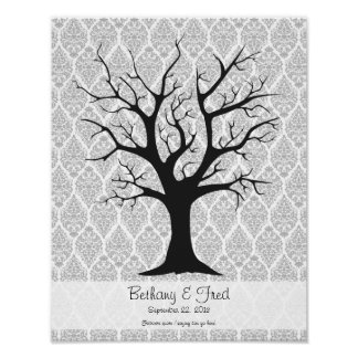 Fingerprint Tree C with Damask - 11 x14 Print