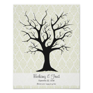 Fingerprint Tree C with Damask Green - 11 x14 Poster