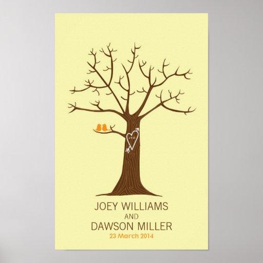 Fingerprint Tree Wedding (Cream) Poster