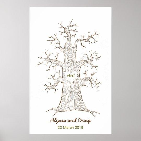Fingerprint Tree Wedding Green Poster