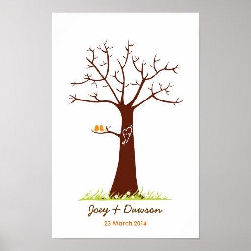 Fingerprint Tree Wedding Guestbook (White) Poster