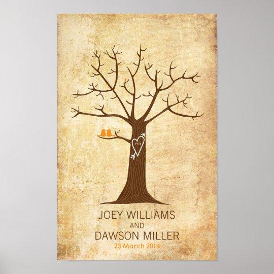 Small Fingerprint Live Oak Tree Wedding Guest Book Hand Drawn: Fingerprint Tree Wedding (Rustic Vintage) Poster