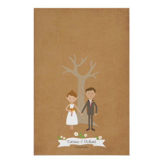 Fingerprint Tree with Cartoon Couple Portrait Poster