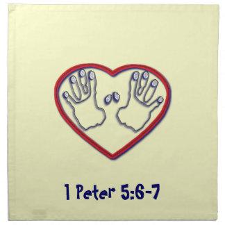 Fingerprints of God - 1 Peter 5:6-7 Cloth Napkin