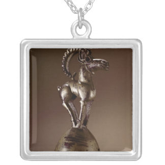 Finial with a mountain goat silver plated necklace