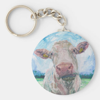finisCow no 04. 0223 Irish Charolais Cow Key Ring
