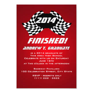 Finished 2014 Racing Flags Graduation 13 Cm X 18 Cm Invitation Card