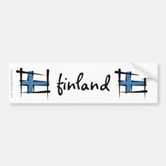 Finland Brush Flag Bumper Sticker