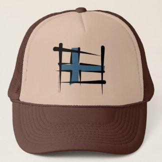 Finland Brush Flag Trucker Hat