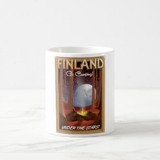 Finland camping under the stars poster coffee mug
