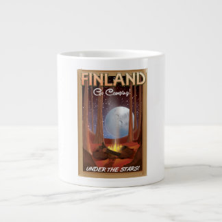 Finland camping under the stars poster large coffee mug