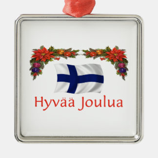 Finland Christmas Silver-Colored Square Decoration