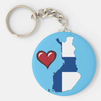 Finland country flag red heart key ring