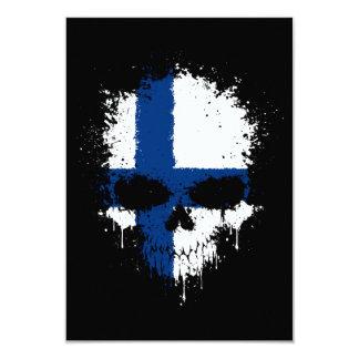 Finland Dripping Splatter Skull Personalized Invites