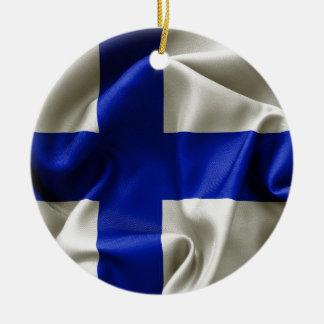 Finland Flag Ceramic Round Ornament