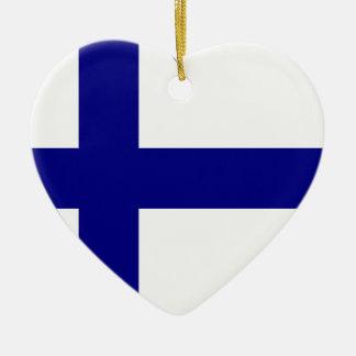 Finland Flag Heart Christmas Ornament