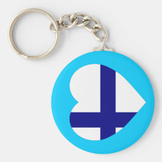 Finland Flag Heart Basic Round Button Key Ring
