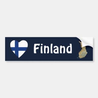 Finland Flag Heart + Map Bumper Sticker