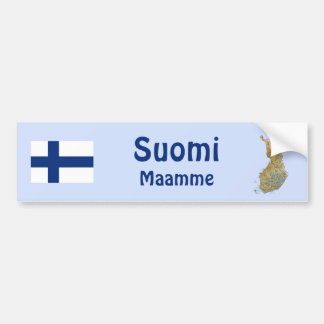 Finland Flag + Map Bumper Sticker