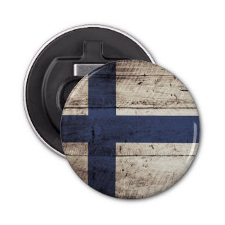 Finland Flag on Old Wood Grain Bottle Opener