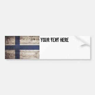 Finland Flag on Old Wood Grain Bumper Sticker