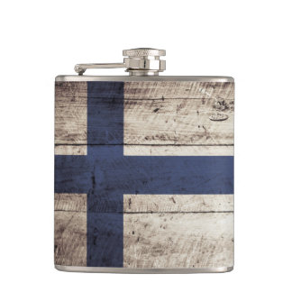 Finland Flag on Old Wood Grain Flask