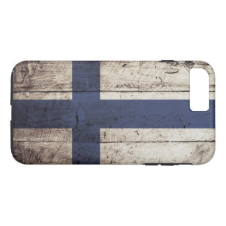 Finland Flag on Old Wood Grain iPhone 7 Plus Case