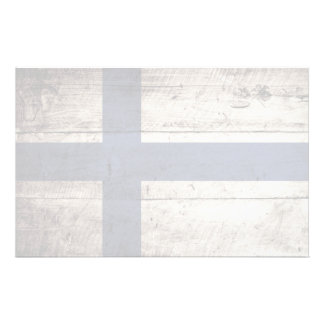 Finland Flag on Old Wood Grain Personalized Stationery