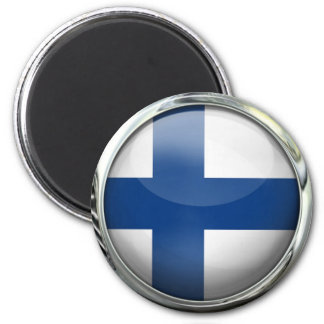 Finland Flag Round Glass Ball 6 Cm Round Magnet