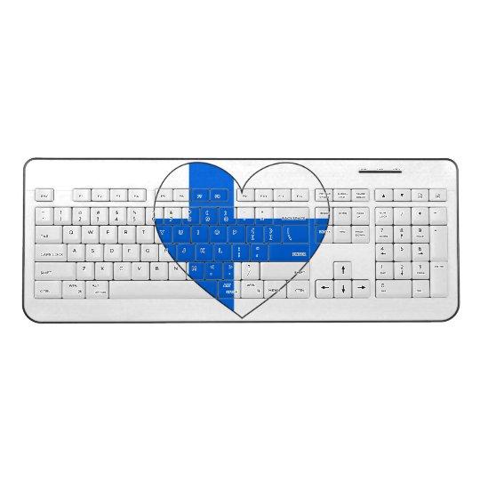 Finland Flag Simple Wireless Keyboard