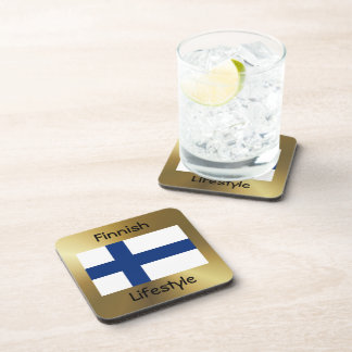 Finland Flag+Text Coaster
