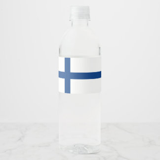 Finland Flag Water Bottle Label