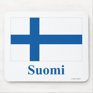 Finland Flag with Name in Finnish Mouse Mat