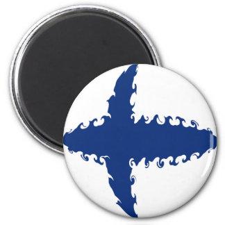 Finland Gnarly Flag 6 Cm Round Magnet