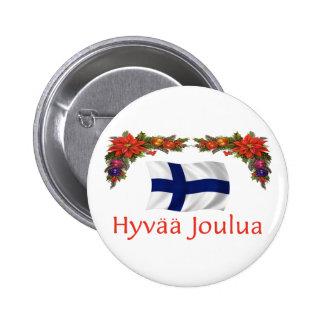 Finland Hyvaa Joulua (Merry Christmas) 6 Cm Round Badge
