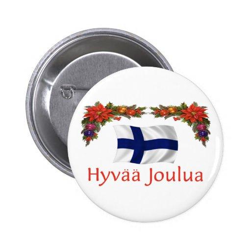 Finland Hyvaa Joulua (Merry Christmas) Button