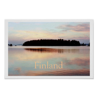 Finland (Island Sunset) Poster with Text