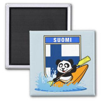 Finland Kayaking Panda Square Magnet