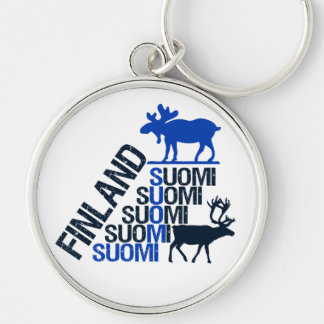 Finland Moose & Reindeer key chain - customize