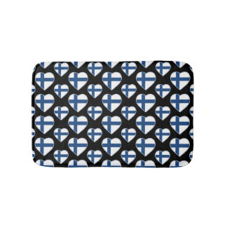 FINLAND SUOMI HEART SHAPE FLAG BATH MAT